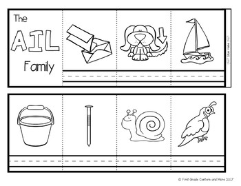 Word Families Accordion Books Bundle Short Vowels and Long Vowels