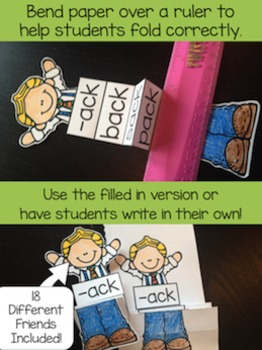 Word Families Accordion Friends - Both Blank & Pre-Filled In Cards Included!