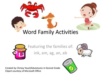 Word Family Activities Pack 1