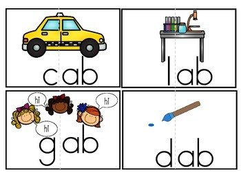 "Word Family Activity Set ""-am"" & ""-ab"""