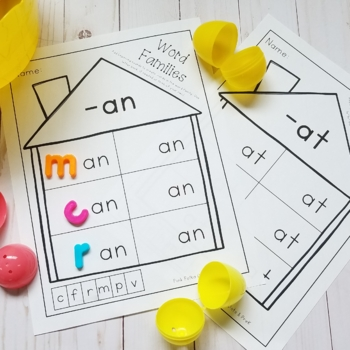 Word Family Activity and Worksheet / Recording Page for Centers / Groups - Set 1