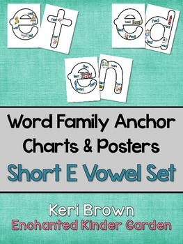 word family anchor charts and poster short e vowel set
