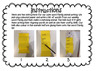 Word Family Animal Writing