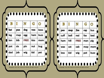 Word Family BINGO