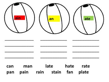 Word Family Beach Ball Sort and Write