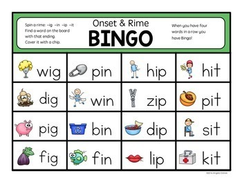 Word Family Bingo (CVC Words)