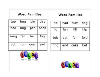 Word Family Bingo