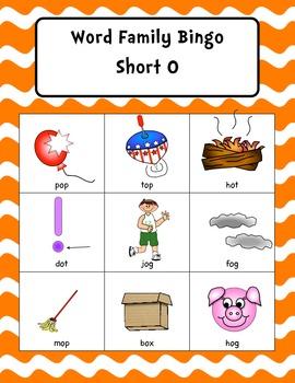 Word Family Bingo Short O