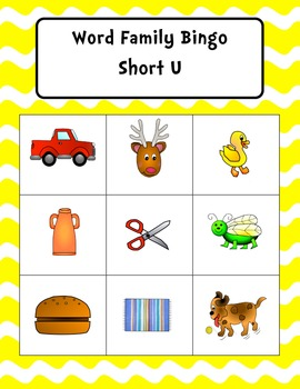 Word Family Bingo Short U