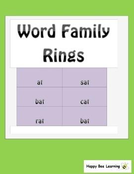 Word Family Bingo & Word Family Rings Bundle