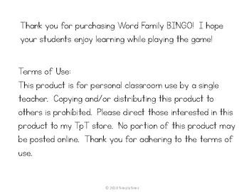 Word Family Bingo: -an, -at, -ad