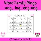 Word Family Bingo (-ang, -ing, -ong, -ung)