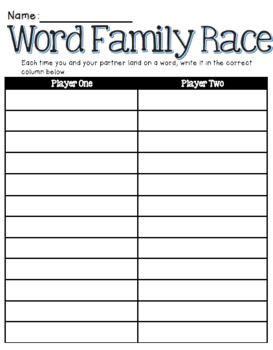 Word Family Board Game Recording Sheet