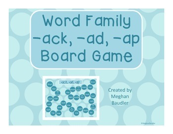 Word Family Board Game (-ack, -ad, -ap)