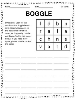 Word Family Boggle