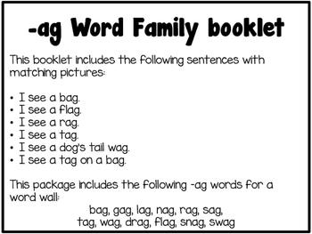 Word Family Booklet -ag