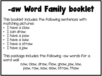 Word Family Booklet -aw