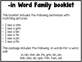 Word Family Booklet -in
