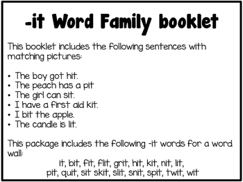 Word Family Booklet -it