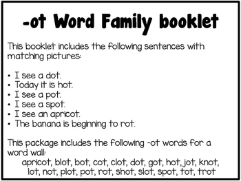Word Family Booklet -ot