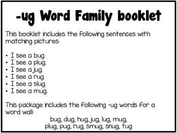 Word Family Booklet -ug