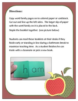 Word Family Booklets: ad, at, ee, in, op, ub