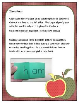 Word Family Booklets: am, an, en, ig, it, ish