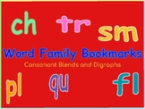 Word Family Bookmarks Blends and Digraphs Set