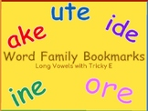 Word Family Bookmarks Long Vowels with Tricky E
