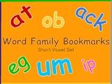 Word Family Bookmarks Short Vowel Set