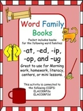 Word Family Books Packet (-at, -ed, -ip, -op, and -ug)