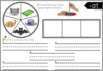 Word Family CVC Activities - Spinners