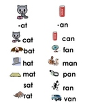 Word Family/ CVC Lists with Pictures All Vowels