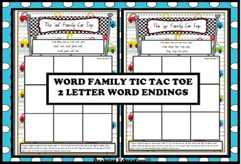 Word Family Car Trip Game Boards 2 Letter Word Endings - 16 Game boards!