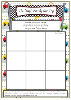 Word Family Car Trip Game -  Set of 35 Game Boards - 3 letter word endings