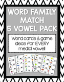 Word Family Matching Game Cards (5-vowel pack)