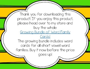 Word Family Cards FREEBIE! Short a