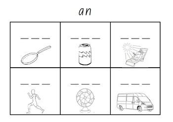 Word Family Cards - Initial Sounds - Kindergarten Spelling CVC
