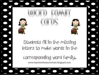 Word Family Binder Literacy Center