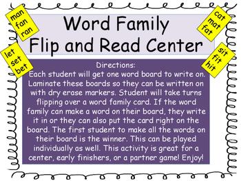 Short Vowels Word Family Center