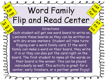 Word Family Center Game