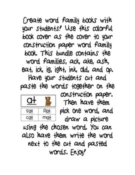 Word Family Center Notebook