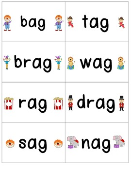 Word Family Center { -ag words} in the Circus Read & Write the Room