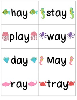 Word Family Center {- ai & - ay words} Under the Sea Read & Write the Room