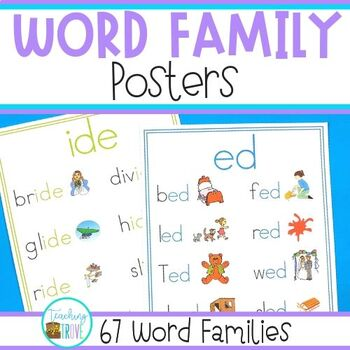 Word Family Posters - 67 Different Word Families