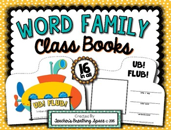 Word Family Books --- Word Family Class Books for 15 Word