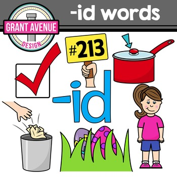 Word Family Clip Art - ID Word Family CVC Clipart