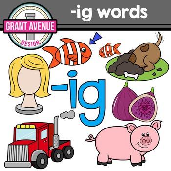 Word Family Clip Art - IG Word Family CVC Clipart