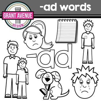 "Word Family Clipart - ""ad"" Word Family Clipart - CVC Middle a Clipart"