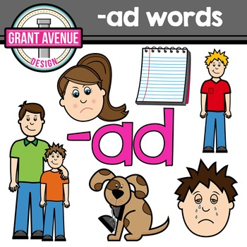 "Word Family Clipart - ""ad"" Word Family Clipart - CVC Middl"